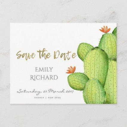 GREEN PALM LEAF WATERCOLOUR FOLIAGE SAVE THE DATE ANNOUNCEMENT