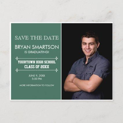 Green Personalized Photo Graduation Save the Date Announcement