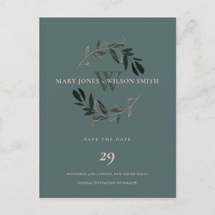 GREEN PINK ROSE GOLD FOLIAGE WREATH SAVE THE DATE ANNOUNCEMENT