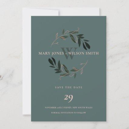 GREEN ROSE PINK FOLIAGE WREATH SAVE THE DATE CARD