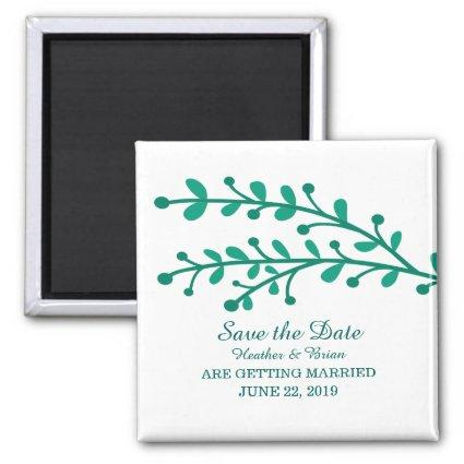 Green Simple Foliage Save the Date Magnet