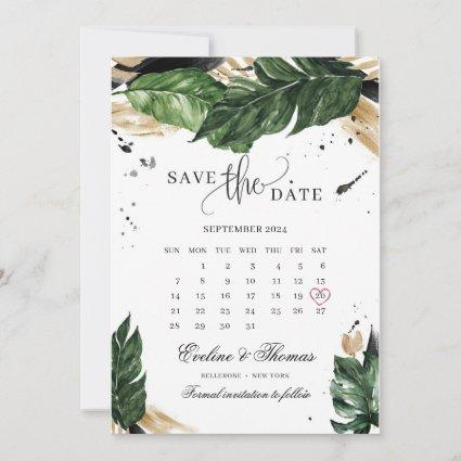 Green tropical leaves gold summer wedding save the date