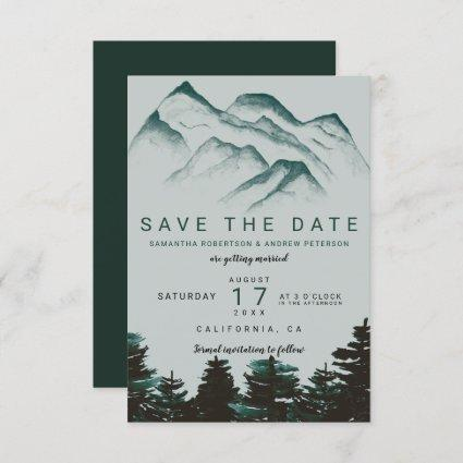 Green watercolor forest mountains save the date