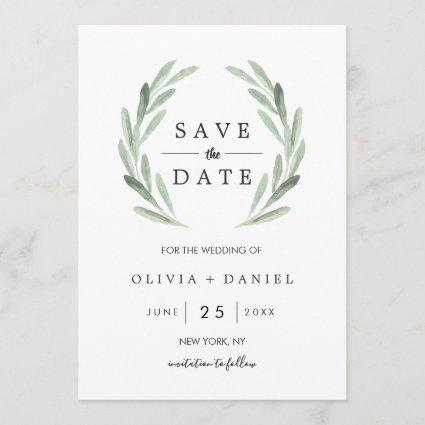 Green Watercolor Wreath Wedding Save the Date