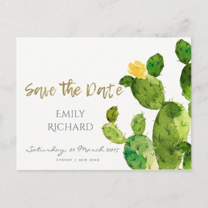 GREEN WATERCOLOUR DESERT CACTUS SAVE THE DATE ANNOUNCEMENT