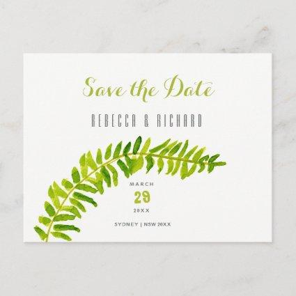 GREEN WATERCOLOUR FERN FOLIAGE Save the date Announcement