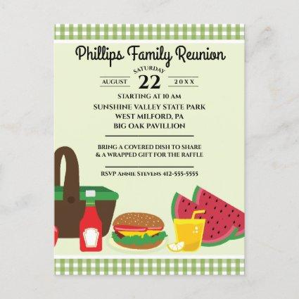 Green & White Tablecloth Picnic Family Reunion Invitation