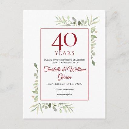 Greenery 40th Anniversary Save the Date Announcement