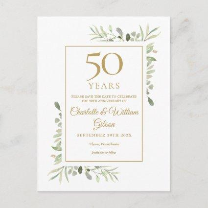 Greenery 50th Wedding Anniversary Save the Date Announcement