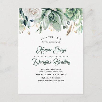 Greenery and Gold Elegant Botanical Save the Date Announcement