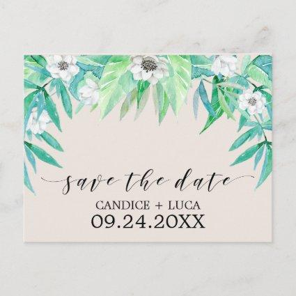 Greenery Botanical Wreath Wedding Save the Date Announcement