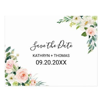 Greenery Elegant Floral Save the Date Card