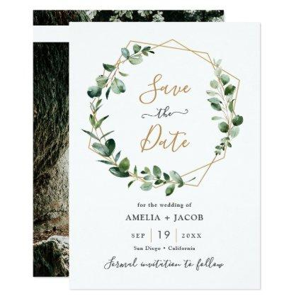Greenery Eucalyptus Geometric Frame Save the Date Invitation