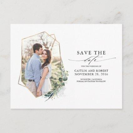 Greenery Eucalyptus Photo Save the Date Announcement