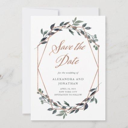 Greenery Geo | Rose Gold Photo on Back Save The Date
