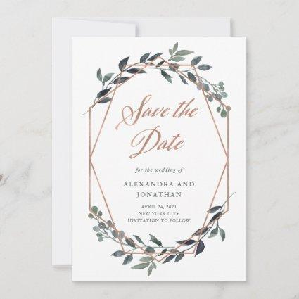Greenery Geo | Rose Gold Save The Date