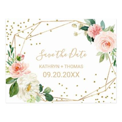 Greenery & Gold Geometric Save the Date Card