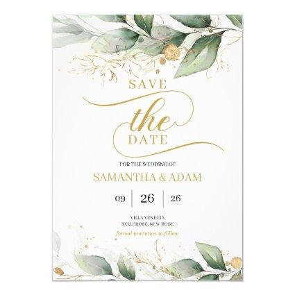 Greenery gold leaves eucalyptus save the date invitation