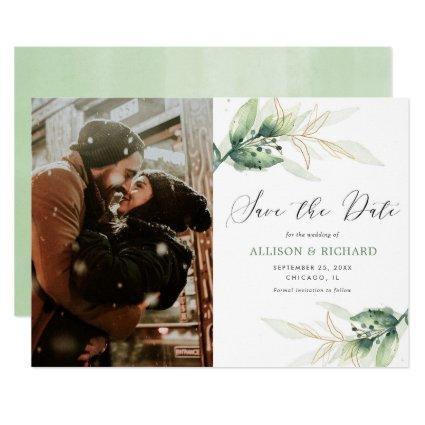 Greenery gold leaves photo Save the Date wedding Invitation