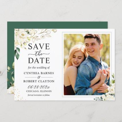 Greenery Ivory White Gold Elegant Floral Photo Save The Date