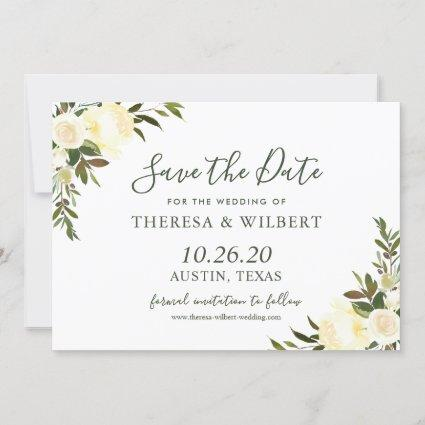Greenery Ivory Wild Floral Save the Date