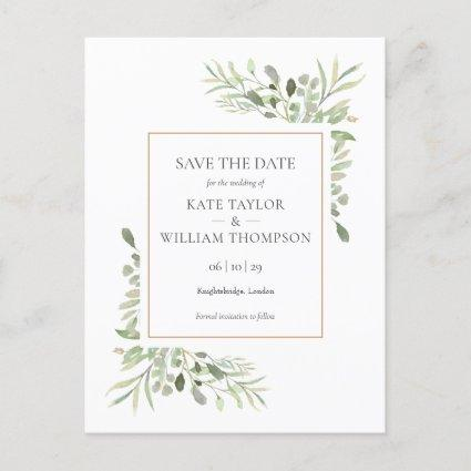 Greenery Leaves Save the Date Photo Announcement