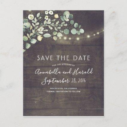 Greenery String Lights Rustic Save the Date Announcement