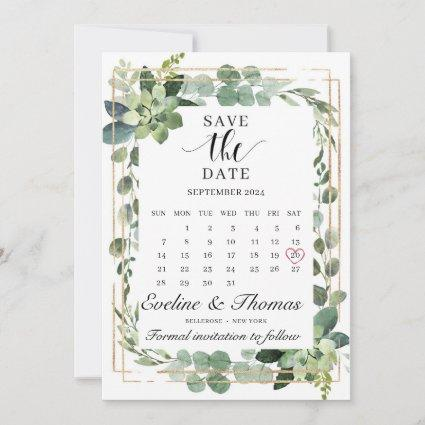 Greenery succulent floral gold geometric frame save the date