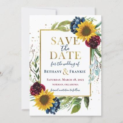Greenery Sunflower Floral Gold Save The Date Card