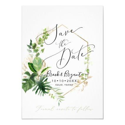 Greenery Variegated Tropical Foliage Save the Date Invitation
