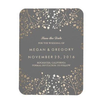 Grey and gold Baby's Breath Save the Date Magnet