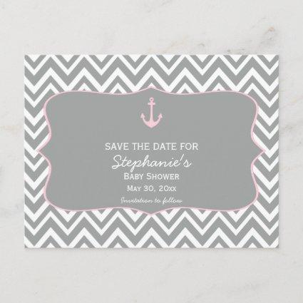 Grey and Pastel Pink Chevron Nautical Baby Shower Announcement