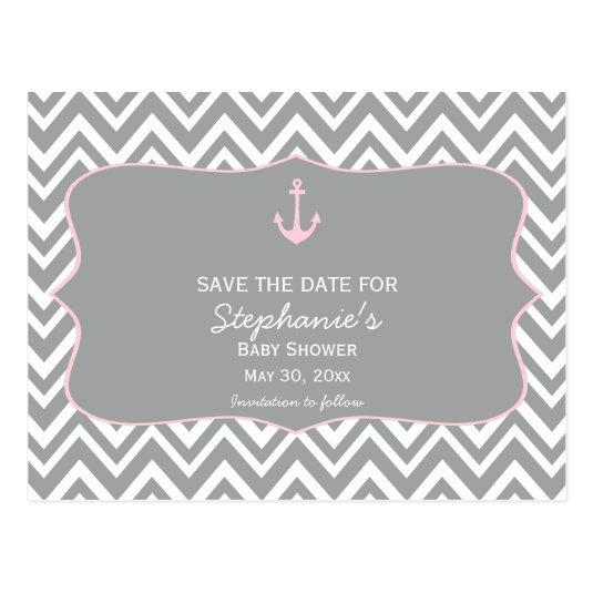 Grey and Pastel Pink Chevron Nautical Baby Shower Cards