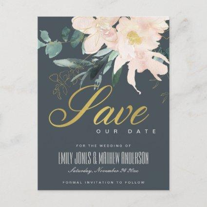 GREY BLUSH FLORAL BUNCH WATERCOLOR SAVE THE DATE ANNOUNCEMENT