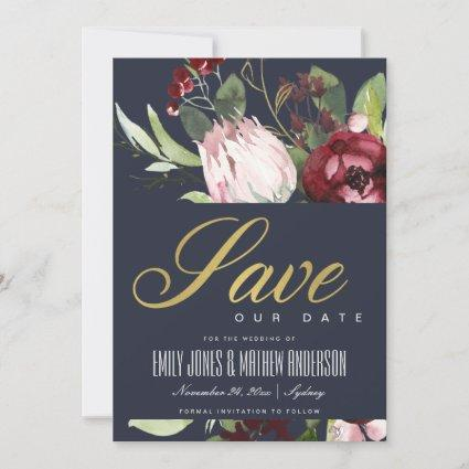 GREY BLUSH PINK BURGUNDY PROTEA FLORAL WATERCOLOR SAVE THE DATE