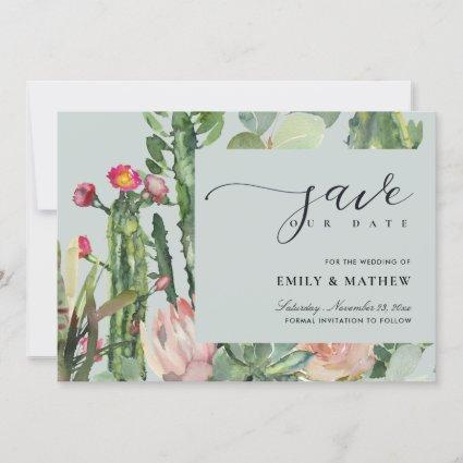 GREY BOHO PINK DESERT CACTUS FLORAL WATERCOLOR SAVE THE DATE