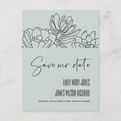 GREY DESERT CACTI SUCCULENT SKETCH SAVE THE DATE ANNOUNCEMENT