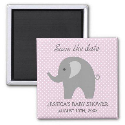 Grey elephant Save the date baby shower Magnets
