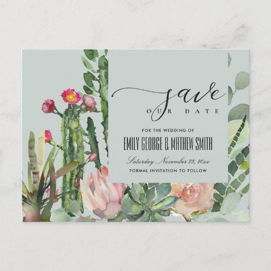 GREY FLORAL DESERT CACTI FOLIAGE SAVE THE DATE ANNOUNCEMENT