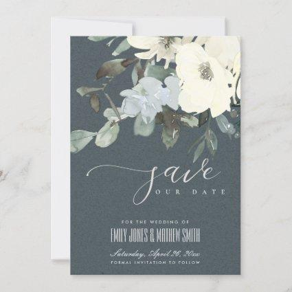GREY IVORY WHITE AQUA FLORAL WATERCOLOR BUNCH SAVE THE DATE