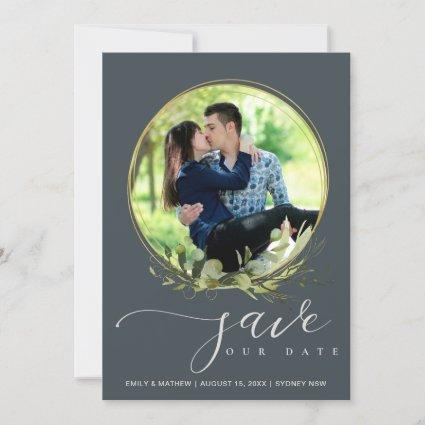 GREY LEAF FOLIAGE WATERCOLOR PHOTO WREATH OVERLAY SAVE THE DATE