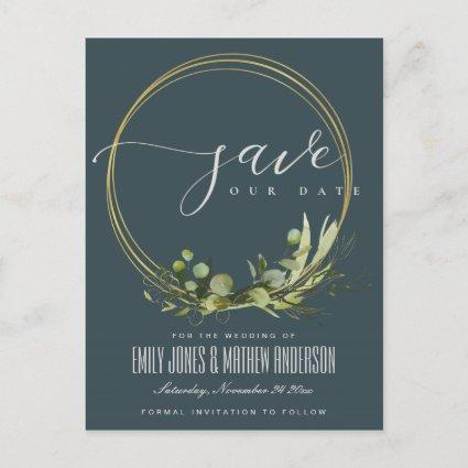 GREY LEAFY GREEN FOLIAGE WATERCOLOR SAVE THE DATE ANNOUNCEMENT