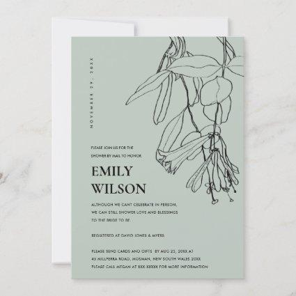 GREY LINE DRAWING FLORAL SHOWER BY MAIL INVITE