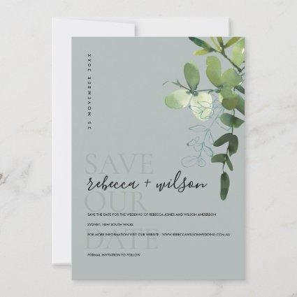 GREY MODERN GREEN EUCALYPTUS FOLIAGE WATERCOLOR SAVE THE DATE