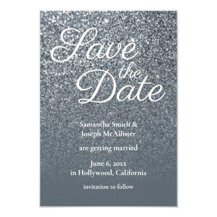 Grey Ombre Glitter Photo Save the Date Invitation