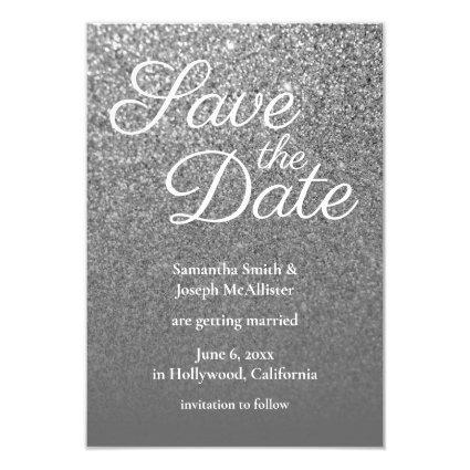 Grey Ombre Silver Glitter Photo Save the Date Invitation