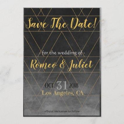 Grey Ombre Watercolor Gold Geometric Save The Date