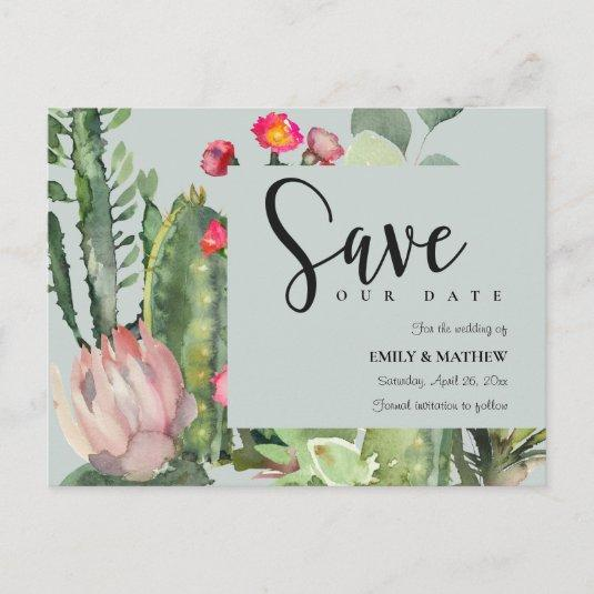 GREY PINK FLORAL DESERT CACTI FAUNA SAVE THE DATE ANNOUNCEMENT