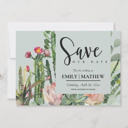 GREY PINK FLORAL DESERT CACTI FOLIAGE WATERCOLOR SAVE THE DATE