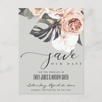 GREY RUST MONSTERA WATERCOLOR FLORAL SAVE THE DATE ANNOUNCEMENT